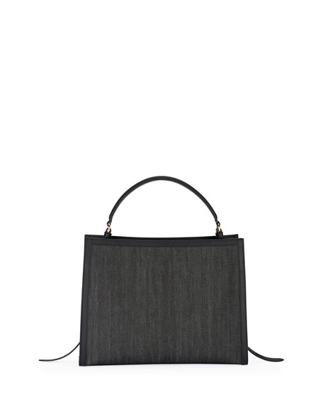 TOM FORD Denim and Leather Top Handle Bag