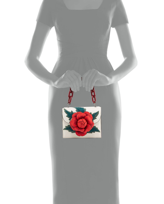 R Mini Tro Shoulder Bag With Rose by Oscar De La Renta