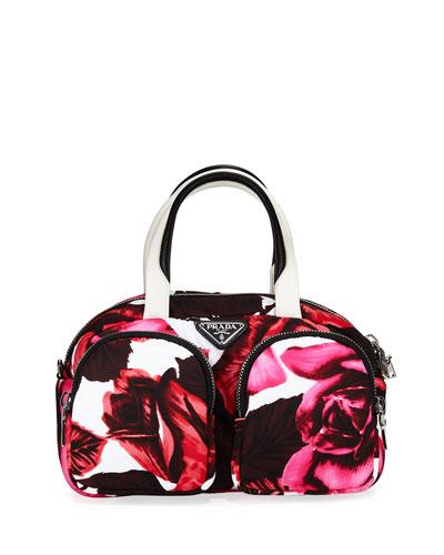 Nylon Cargo Roses Bowler Bag