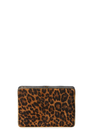 Hunting Season Leopard-Print Suede Box Clutch Bag