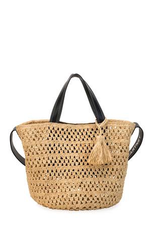 Stella McCartney Crochet Raffia Bucket Bag