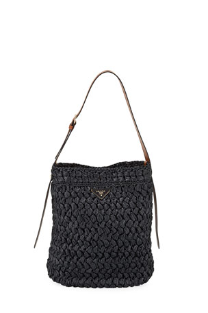 Prada Large Raffia Bucket Bag
