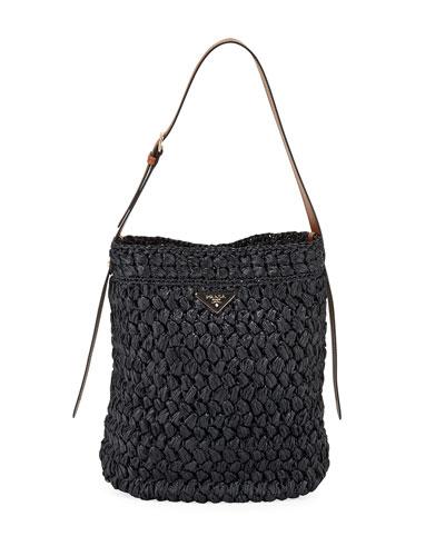 Large Raffia Bucket Bag