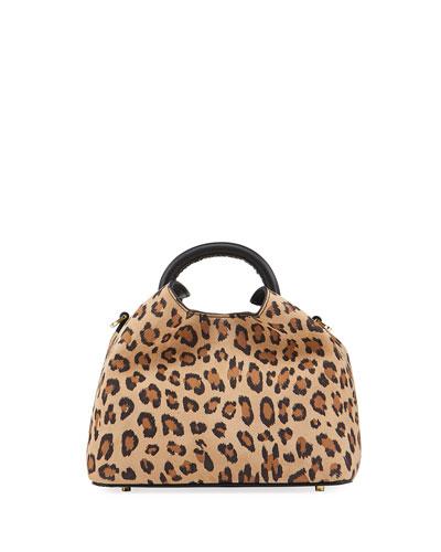 Baozi Leopard-Print Leather Top-Handle Bag