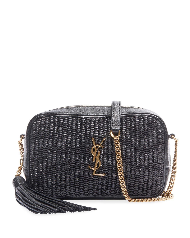 Saint Laurent Lou Mini Ysl Monogram Raffia Camera Bag Neiman Marcus