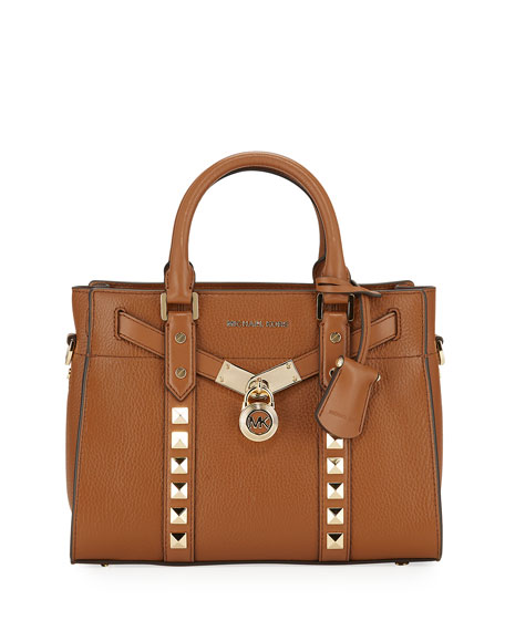 Image 1 of 4: Nouveau Studded Leather Satchel Tote Bag