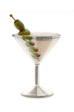 Judith Leiber Couture Beaded Martini Glass Cocktail Clutch