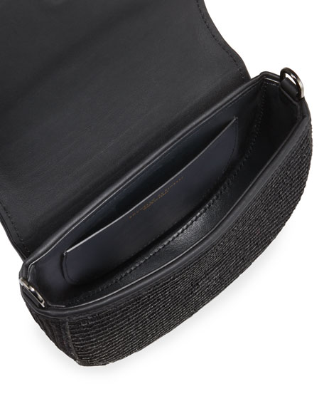 Brunello Cucinelli Raffia and Monili Striped Half-Moon Crossbody/Belt Bag