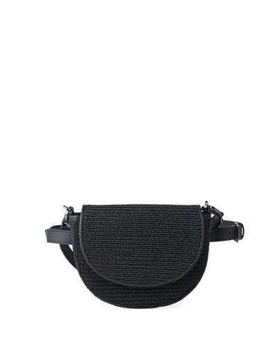 Raffia and Monili Striped Half-Moon Crossbody/Belt Bag