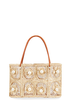 Mercedes Salazar Tropics Flower Embellished Tote Bag