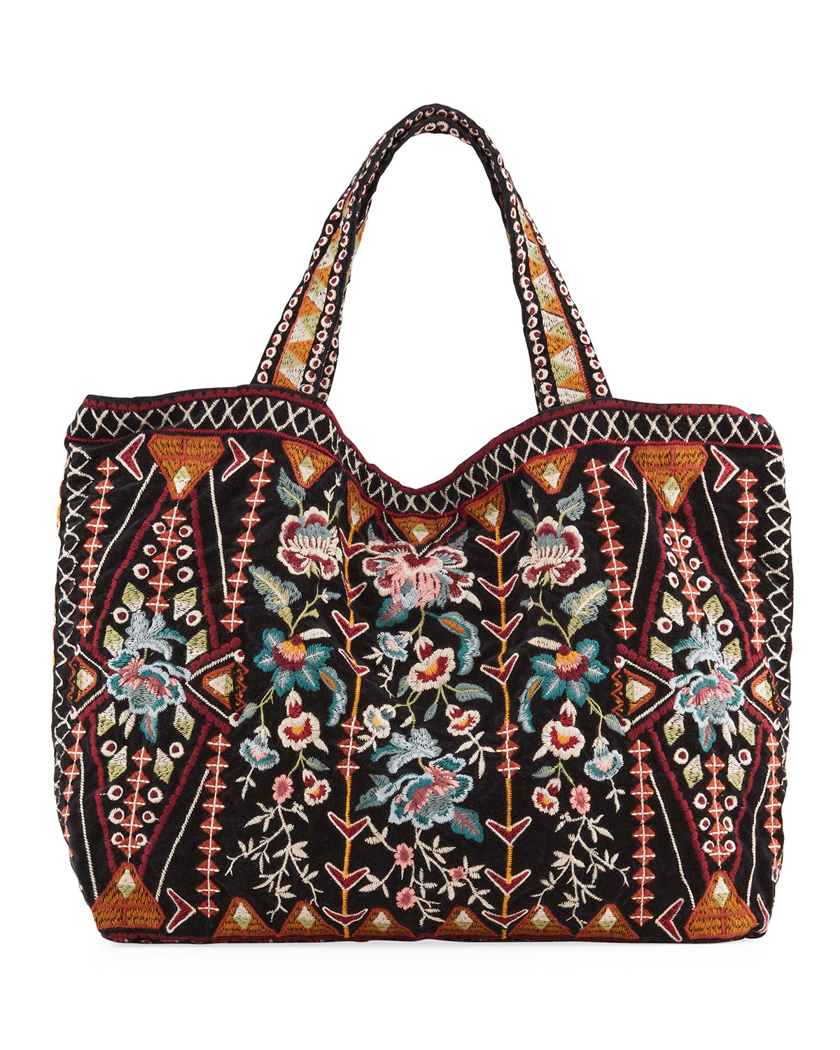 Johnny Was Embroidered Velveteen Tote Bag