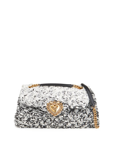 Dolce & Gabbana Knitted Devotion Double-Chain Shoulder Bag