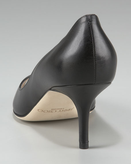 Gilbert Peep-Toe Leather Pump