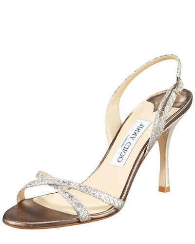 Jimmy Choo India Glittered Crisscross Slingback