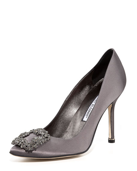 Manolo Blahnik Hangisi 105mm Satin Pump, Silver