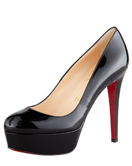Christian Louboutin Bianca Almond-Toe Platform Red Sole Pump