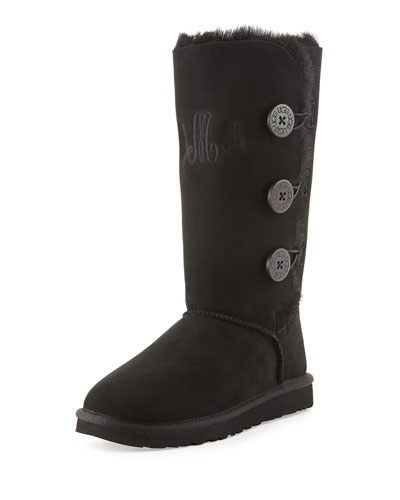 UGG Australia Monogrammed Bailey Button Tall Boot, Black