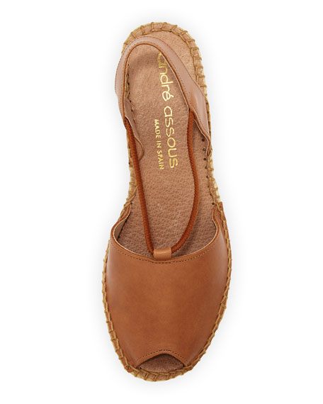 Dainty Leather Slip-On Espadrille Wedge, Brown