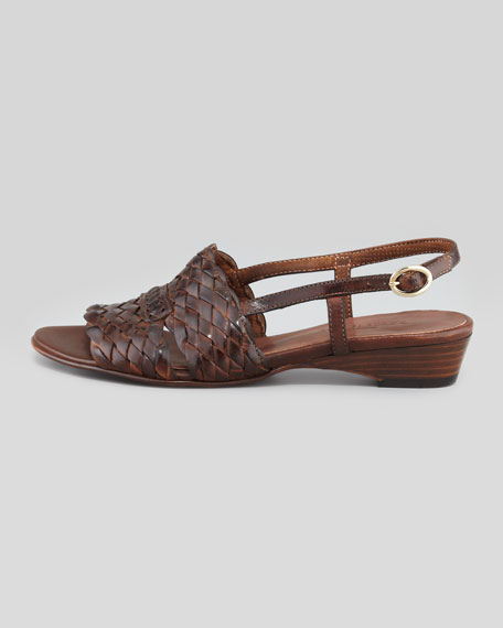 Guenna Woven Leather Slingback Sandal, Dark Tan