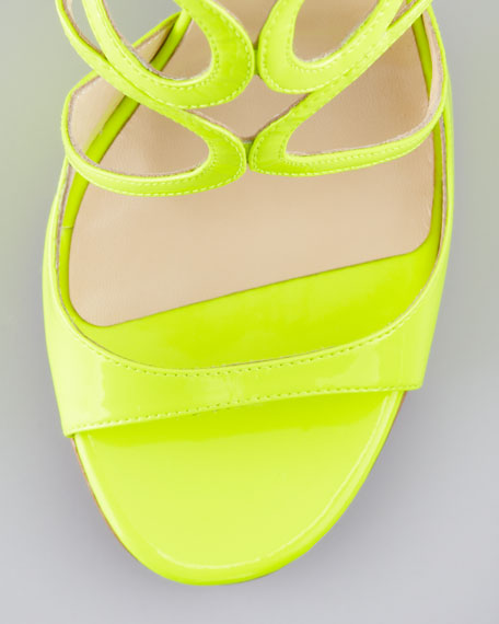 Lang Patent Strappy Sandal, Yellow