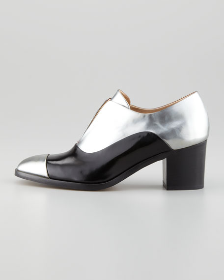 Metallic Leather High-Heel Oxford, Silver/Black