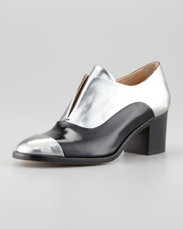 Reed Krakoff Metallic Leather High-Heel Oxford, Silver/Black