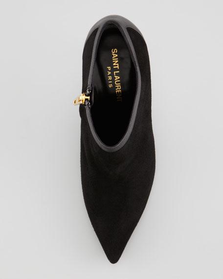 Pointed-Toe Calf-Trim Suede Bootie, Black
