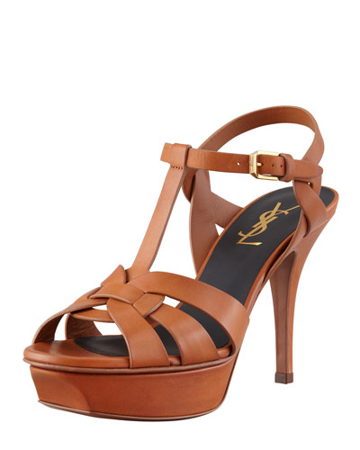 Saint Laurent Tribute Mid-Heel Leather Sandal, Brown
