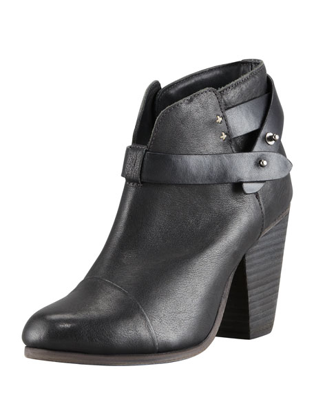 Rag & Bone Harrow Leather Ankle Boots, Black