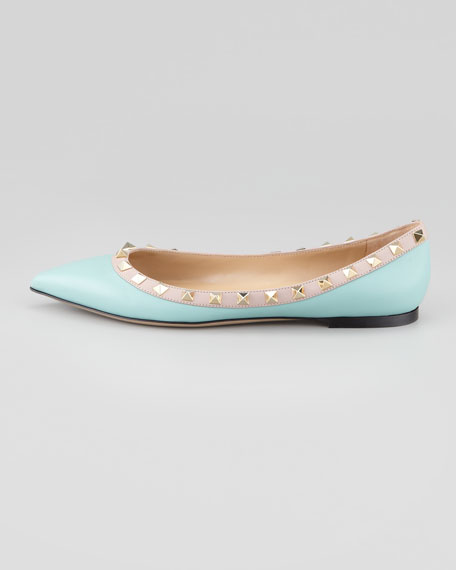 Rockstud Leather Ballerina, Sky Blue