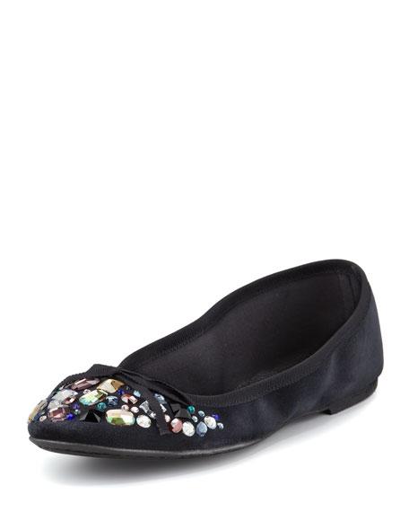 Ariella Jewel Velvet Ballet Flat, Black