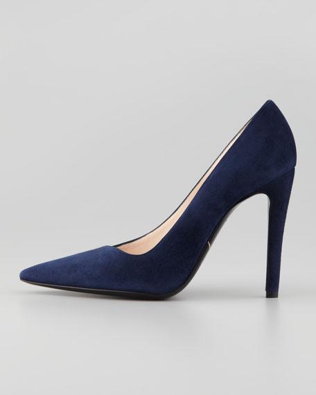 Asymmetric Pointed-Toe Pump, Blue