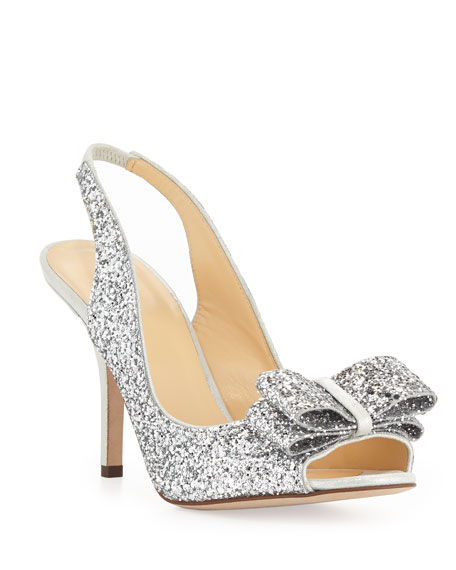 kate spade new york charm glittered bow slingback, silver
