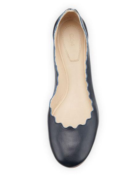 Scalloped Calfskin Ballerina Flat, Navy