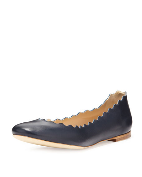 Scalloped Calfskin Ballerina Flat, Navy