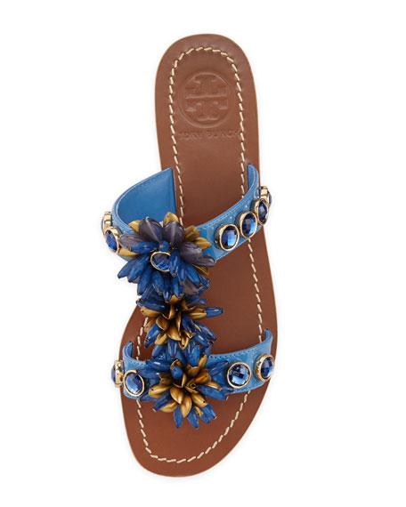 Sydney Embellished Patent Sandal, Wedge Green