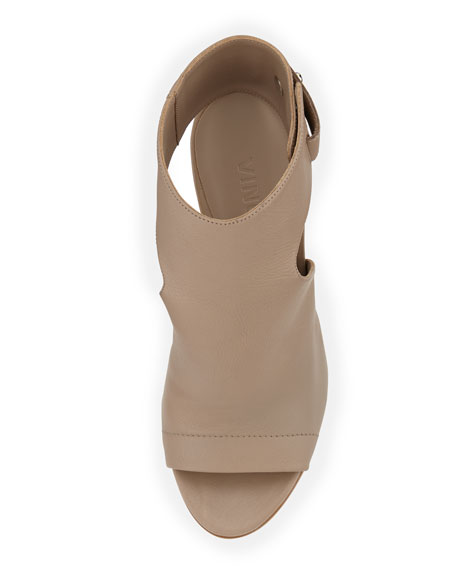 Addie Open-Toe Buckle-Back Sandals, Taupe
