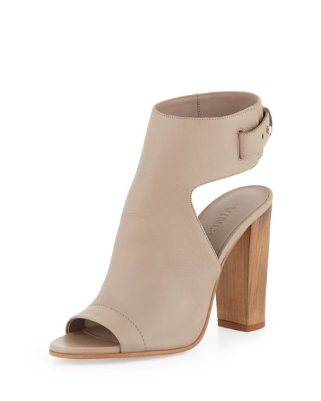 Addie Open-Toe Buckle-Back Sandal, Taupe