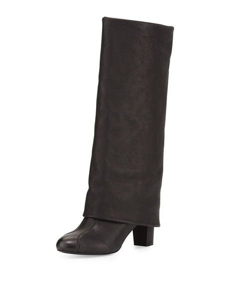 Cuffed Leather Knee Boot, Black