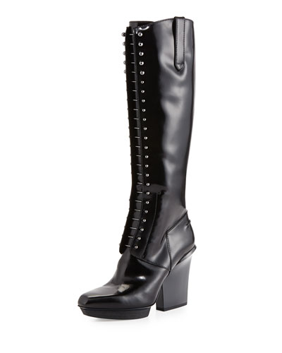 3.1 Phillip Lim Runway Juno Lace-Up Patent Leather Knee Boot, Black