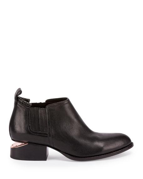 Alexander Wang Kori Leather Lift-Heel Ankle Boot, Black
