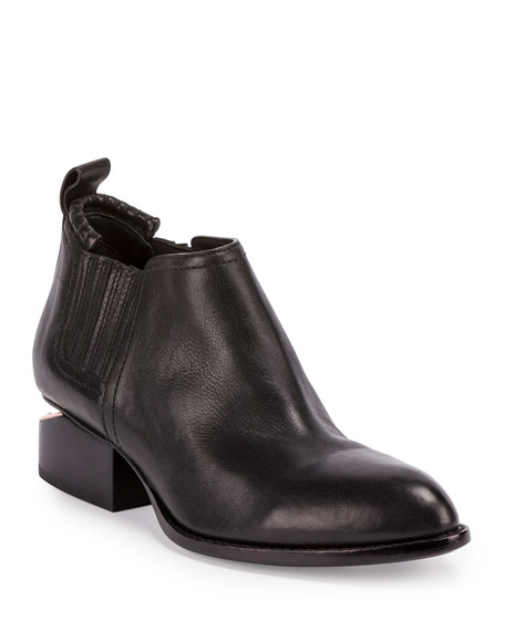 Women'S Kori Pointed Toe Leather Ankle Boots - Silver-Tone Hardware in Black from INTERMIX