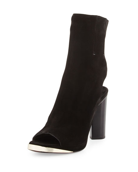 Suede Peep-Toe Glove Sandal, Black