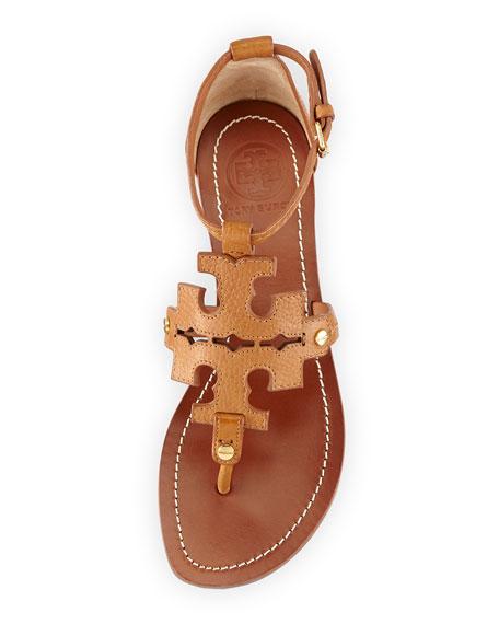 Phoebe Logo Flat Thong Sandal, Tan