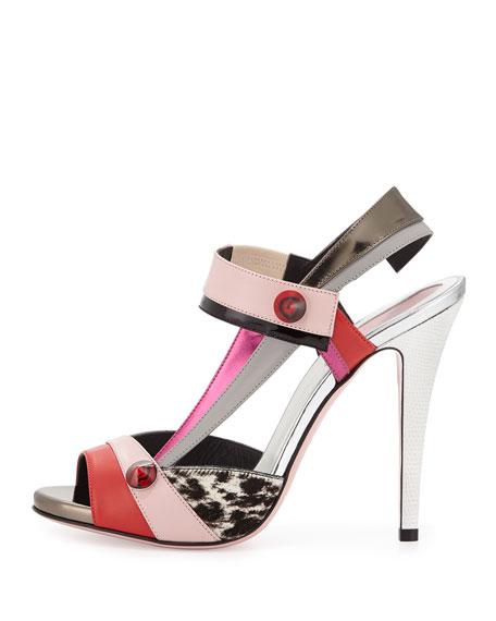Asymmetric Colorblock Stud Sandal, Coral/Pink