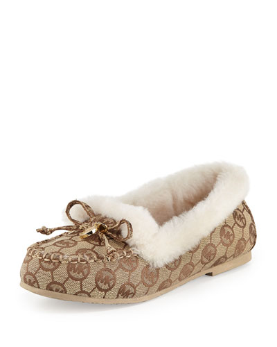 Cori Monogram Fur-Lined Moccasin, Beige/Ebony