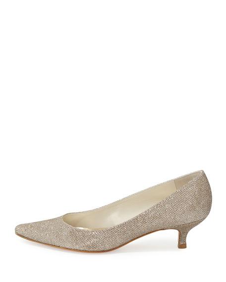 Poco Glitter Kitten Heel Pump, Platinum
