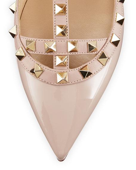 Rockstud Patent Caged Ballerina Flat, Light Ivory