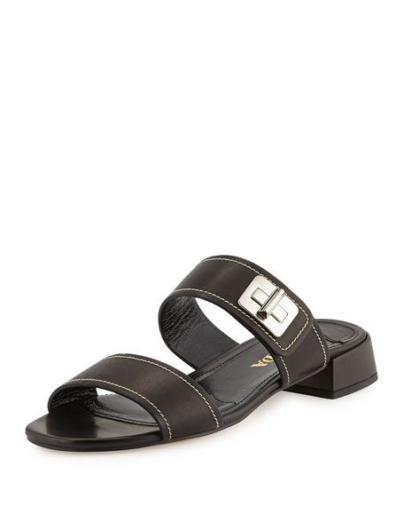 Prada Leather Turn-Lock Slide Sandal, Nero