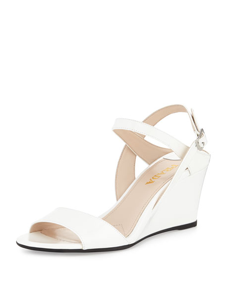 Prada Patent Wedge Sandal, Bianco